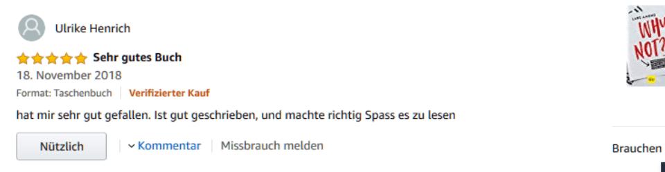 Screenshot einer Amazonbewertung